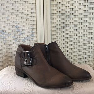 Frye Brown Buckle Ankle Boots